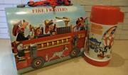 Super Rare 60and039s Aladdin Lunch Box Fire Fighters Vintage Collectible Disney Japan