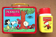 Snoopy Thermos Metal Lunch Box With Thermos Vintage 1970and039s Collectible Japan
