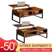 Lift-up Coffee Table Brown Finish Hidden Storage Cabinet Compartment Longlasting