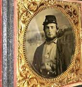 1860s Photo 2x Armed Civil War Soldier Wearing Corps Badge, Painted Backdrop