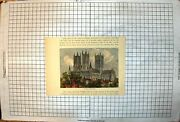 Old Print Lincoln Cathedral Towers Spires Arched Windows Buildings Houses