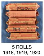 Lot 5 Wheat Penny Rolls 1918 1919 1920 1920s Mixed 250 Pennies Abraham Lincoln