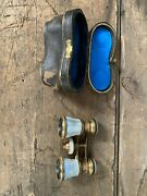 Vintage Lamier Paris Mother Of Pearl Opera Glasses With Leather Case Great Cond