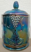 Vintage Iridescent Blue Harvest Indiana Glass Carnival Glass 7 Canister W/lid