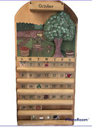 Vintage Perpetual Wall Calendar Handmade Wood. 1991. The Pine Connection.