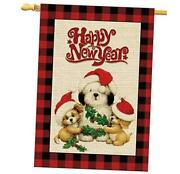 House Happy New Year Dogs With Hats Buffalo Check Plaid Burlap 28x40 White