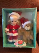 Precious Moments Wishing You A Bear-ie Christmas Doll And Bear Set-2000 New In Box