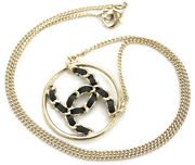 Ab0558 Necklace Pendant Round Watermark Plate Cc Chain Black Leather Gold