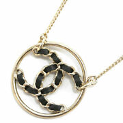 Necklace Ab0558 Pendant Round Watermark Plate Cc Chain Black Leather Gold