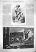 Old Antique Print 1862 International Exhibition Marble Group Monkeys Cage 19th