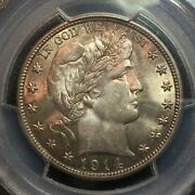 Pcgs Ms-63 1914-p Barber Half Dollar Nice Coin Low Mintage