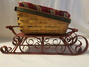 Longaberger Red 2007 Holiday Helper Metal Sleigh Runner And Basket Combo