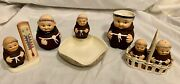 Vintage Goebel Friar Tuck Figurines Lot Of 8 Pieces, Germany 1960's. all W/logo