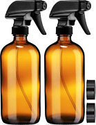 Empty Amber Glass Spray Bottles With Labels 2 Pack - 16oz Refillable Container