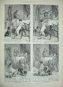 Original Old Antique Print 1889 Animals Dogs Monkeys Mischief Table Food 19th
