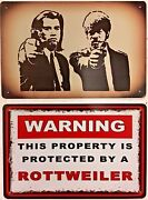 Two 8x12 Tin Signs Pulp Fiction Movie Travolta Jackson Protected Rottweiler Dog