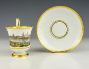 Antique Meissen Porcelain - Hand Painted Dresden Scene Cabinet Cup And Saucer