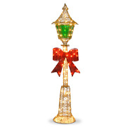 60 Inch Gold Colored Lamp Post Decor With Green Film And Red Bow 85 Clear