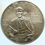 2004 United States Thomas Edison Inventor Of Light Bulb Silver Coin Icg I96969