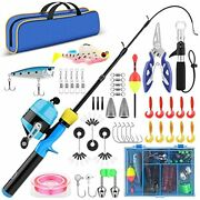 Kids Fishing Pole With Tackle - 3.9ft Telescopic Fishing Rod And Spincast Reel C