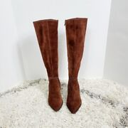 Sole Society Alexie Brown Suede Knee High Pointed Toe Boots Size 8