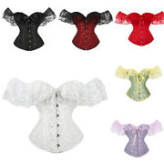 Retro Corset Tops Gothic Victorian Lolita Shirts Sexy Off Shoulder Lace Blouses