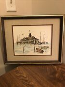 """Maurice Gregoire Boat Seagulls Ocean Painting Signed Matted And Framed 15""""x12"""""""