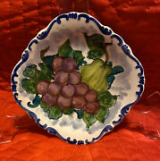 """7"""" Fruit Plate Wall Picture Handmade Greece Ceramic Art Deco Pottery"""