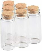 Clear Glass Bottle With Cork, Wedding Gift, Travel Piggy Bank, 65ml [12 Pieces]