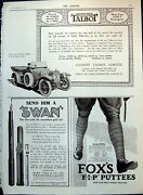 Antique Old Print Talbot Car Foxand039s Puttees Swan Pens Adverts Avon Tyres 1915