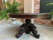 Antique French Carved Oak Hunt Coffee Table Renaissance Black Forest Oval C1900