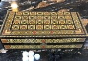 Handmade Backgammon Board Set Antique Chess Table Wood Pieces Dice Game