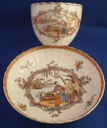 Antique Miles Mason Porcelain Chinoiserie Scene Cup And Saucer