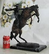Large Frederick Remington Bronze Sculpture Bronco Buster On Marble Stand Figure