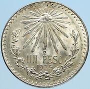 1935 Mexico Eagle Liberty Cap Large Vintage Old Silver Peso Mexican Coin I97394