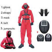 Squid Game Jumpsuit Loose Adult Costume Cosplay Halloween Party Prop Belt Gloves