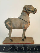 Rare Antique 19th Century Handmade Wood German Figural White Horse Pull Toy