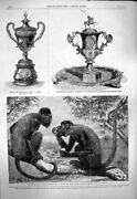 Old Antique Print 1863 Red Howling Monkeys Silver Vase Grant Major Pearse 19th