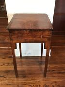 Antique Early American Primitive Pine Wood Standing Slant Top Writing Desk