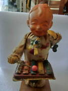 Curio Tin Toy And Celluloid Doll Playing Xylophone If You Wind Spring About 23cm