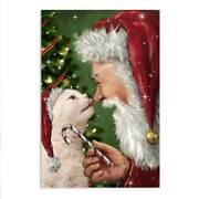 Christmas Santa Poster Cat Lick Nose Santa With Candy Merry Christmas Gift Decor