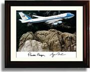 Framed Ronald Reagan And George Bush Autograph Promo Print - Air Force One Over