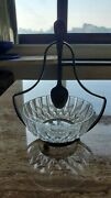 Vintage Sterling Silver Spoon And Stand And Crystal Sugar Bowl