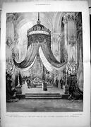 Old Print Lying In State Late Czar Fortress Cathedral St Petersburg 1894 19th