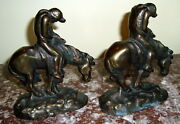 Ca 1920and039s Pair Of Solid Metal Book Ends End Of The Trail Native Americans