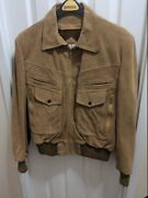 Vintage Euc Size 44 X-large Bermanandrsquos Camel Suede Leather Bomber Jacket And Liner