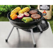Black 14.5 Bbq Portable Charcoal Grill With Wheels Smoker Weber