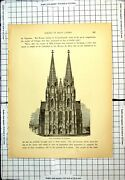 Antique Old Print Cathedral Cologne View From Front Arched Windows Germany
