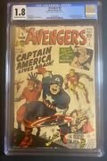 Avengers 4 Cgc 1.8 1st Silver Age Appearance Of Captain America