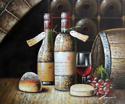 Vintage Wine Tasting Bottles Cellar Glass Grapes 20x24 Oil Painting Stretched